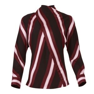 CEDRIC CHARLIER • Striped High Neck Blouse